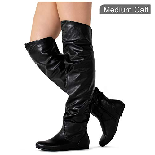 Pull High Knee (RF ROOM OF FASHION Stretchy Over The Knee Slouchy Boots (Medium Calf) Black PU (5.5))