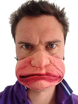 Funny Half Face Grumpy Old Man Mask Fancy Party Mad Gurn Masquerade