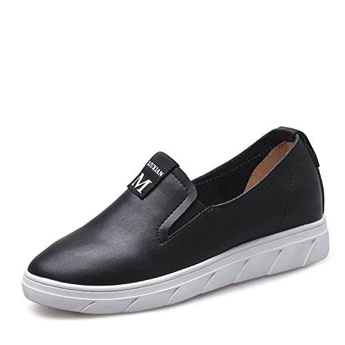 Zapatos Blancos Aumenta En La Primavera,Los Zapatos De Las Mujeres,Versión Coreana Lok Fu De Zapatos De Cuero,Zapatos Plano Casuales,Zapatos Nude A