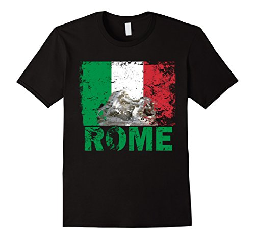 Men's Rome Italy Flag Vintage Look T-Shirt Medium Black
