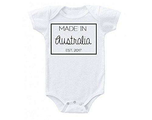 Promini Made in Australia Down Under Mate Cute Funny Baby Onesie Gift Novelty Tshirt Costume Babies Bodysuit White]()