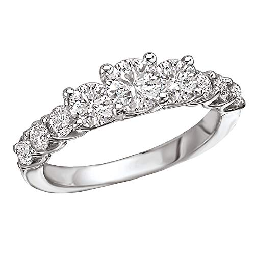 (14k White Gold Over .925 Silver 3-Stone Round CZ Ring with Fancy Prongs (1.50 ctw)- Size 6)