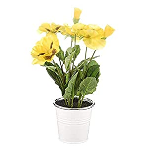 MARJON FlowersFloristryWarehouse Artificial Pansy Bunch in Tin Pot 25cm Yellow 62