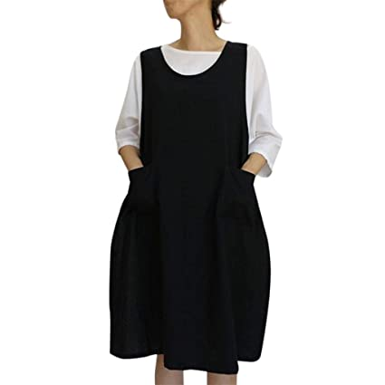 b97ae2ebc84 Women Cotton Tunic Dress Casual Apron with Pockets Japanese Style Pinafore  Dress (Black