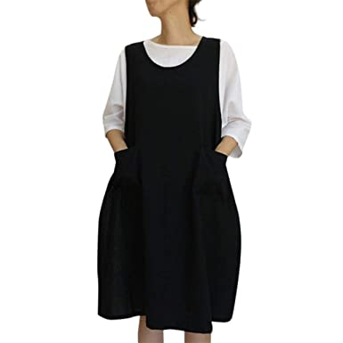 988ba1c22c07 NREALY Dress Womens Cotton Tunic Dress Casual Apron with Pockets Japanese  Style Pinafore Dress at Amazon Women's Clothing store: