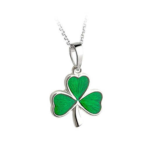 "Sterling Silver Enamel Pendant (Shamrock Necklace Sterling Silver & Green Enamel 24"" Thick Chain)"