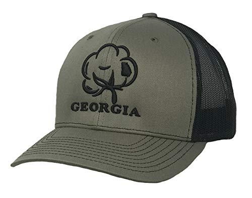 Heritage Pride Logo Georgia State Cotton Boll Trucker Hat-Military, Black -