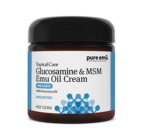 Pure Emu Glucosamine & MSM Emu Oil Cream| Topical Cream Infused with Pure, Fully Refined Emu Oil | Unscented, Gentle Moisturizer, 4 oz