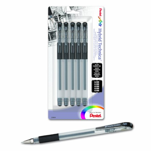 (Pentel Arts Hybrid Technica Gel Pen with Assorted Tip Sizes, Black Ink, Pack of 5 (KN10BP5A))