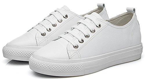 Aisun Damen Neu Durchgängiges Plateau Low-Top Schnürsenkel Sneakers Weiß