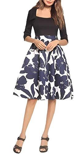 Un Pieghe A Starsace Fashion 1950 Womens Con 1 Stampa Vintage Floreale Casual Foderato BH8Bx6wqtT