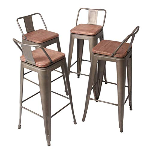 YongQiang Set of 4 Swivel Bar Stool Metal Barstools Indoor Outdoor Kitchen Dining Chair Counter Stool Cafe Side Chairs 30
