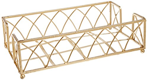 Boston International BID98 Arch Design Guest Towel Napkin Holder Caddy, 9 x 5.25-Inches, Gold Leaf