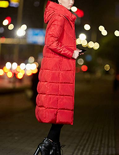 with Hooded Womens Red Jacket Outerwear Slim Coat Puffa Long Warm Jacket fit Padded Ladies Quilted Winter Down BESBOMIG aXdIqX