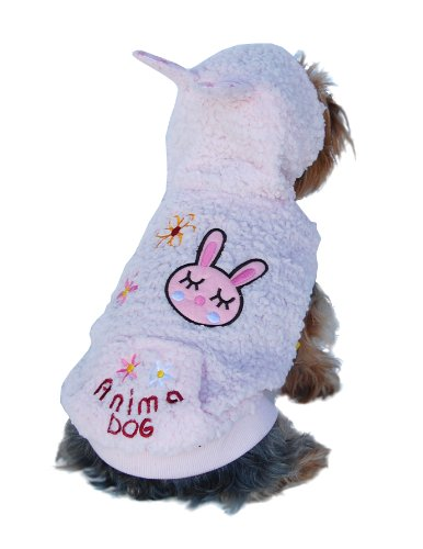 Anima Pink Fluffy Bunny Hoodie, X-Small, My Pet Supplies