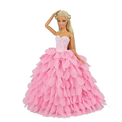 Barwa Robe Rose Avec Des Vêtements De Fête Chapeau Princesse Soir Porte Set Tenue Vestimentaire Pour Poupée Barbie