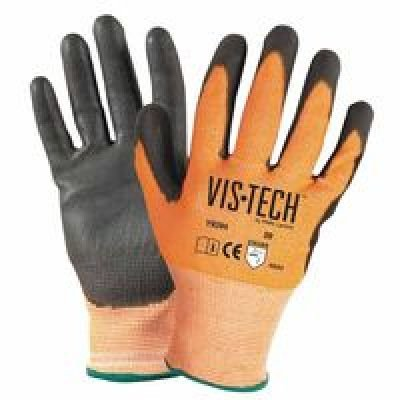 Vis-Tech Cut-Resistant Gloves with Polyurethane Coated Palm, Large, Orange/Black, Sold as 1 DZ