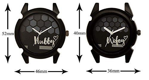 Om Designer Analogue Round Black Dial Hubby-Wifey Men & Women Couple Watch - Popular Couple Bown Belt #215LJK