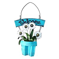 Goodman and Wife Handmade Decorative Metal Shabby Chic Welcome Sign with White Daisies in Blue Planter. Blue