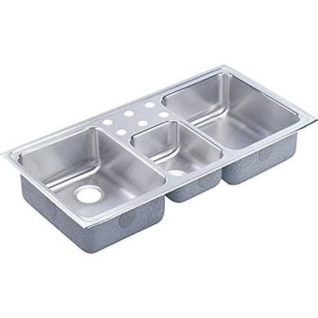 elkay lcr43223 3 hole gourmet lustertone stainless steel 43 inch x 22 inch elkay lcr43223 3 hole gourmet lustertone stainless steel 43 inch x      rh   amazon com