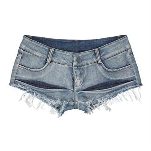 eCHvpnGt Mini Shorts Denim Stretchable Cut Off Low Rise Waist Sexy Micro Jeans Hot Pants For Woman Girls Teen…