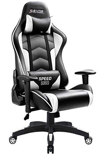 Homall Gaming Chair High Back Computer Chair Racing Style Office Chair Embossing Design Pu Leather Bucket Seat Desk Chair with Adjustable Armrest Ergonomic Headrest and Lumbar Support (White)