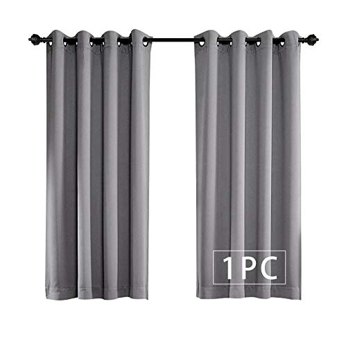 MYSKY HOME Solid Grommet top Thermal Insulated Window Blackout Curtain for Bedroom, 52 by 63 inch, Grey (1 Panel)