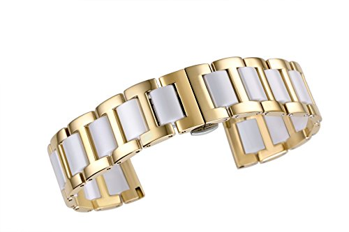 16mm Luxury Solid Ceramic Link Replacement Watch Strap in Two Tone Gold and White 316L Stainless Steel (Watch Tone Womens Two Luxury)