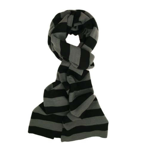 TrendsBlue Premium Soft Knit Striped Scarf, Gray & Black ()