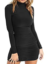Womens Sexy Stand Neck Long Sleeve Ruched Bodycon Mini Club Dress