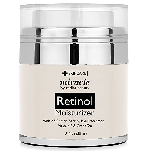 Radha Beauty Retinol Moisturizer Cream for Face and Eye Area 1.7 Oz - With Retinol, Hyaluronic Acid, vitamin e and Green Tea. Night and Day Moisturizing - Face