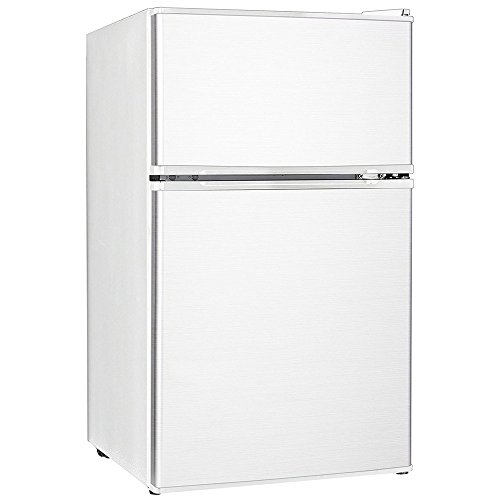 Midea WHD-113FW1 Double Reversible Door Refrigerator and Freezer, 3.1 Cubic Feet, (Top Bar Unit)