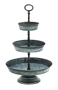 Benzara Three Tiered Metal Galvanized Tray with Small Gold Colored Studs