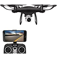 Littleice 2.4G 4CH 6-Axis Gyro Hovering Flashing RC Quadcopter Remote Control Drone with 720P HD WIFI Camera Drone FPV Brush Motor (Black)