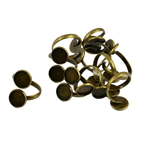 MagiDeal 10pcs Bronze Tone Adjustable Spiral Ring Base Settings Blanks Findings (Gold Ring Base)