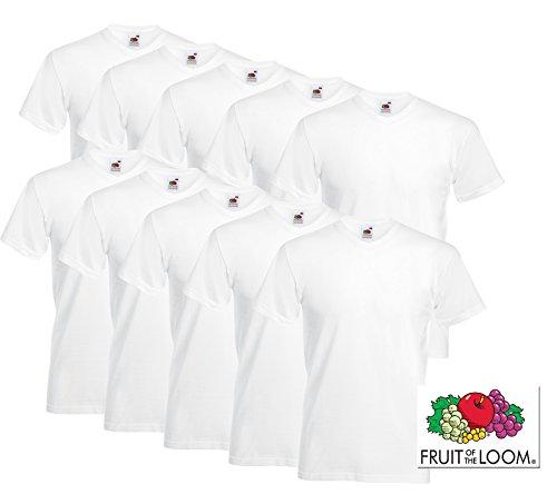 10 Fruit of the loom T Shirts V-Neck Weiss M L XL XXL V-Ausschnitt (XL, Weiss) XL,Weiss