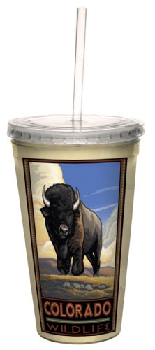 Tree-Free Greetings cc33125 Vintage Colorado Buffalo by Paul A. Lanquist Artful Traveler Double-Walled Cool Cup with Reusable Straw, 16-Ounce