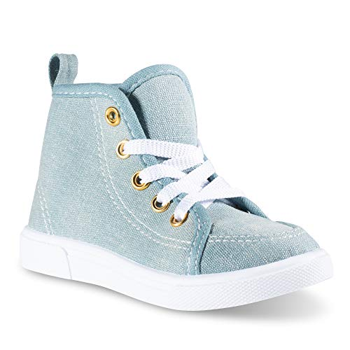 (Chillipop Fashion High-Top Canvas Sneakers - for Girls Boys Youth, Toddlers & Kids Light Blue)