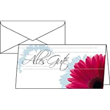 """Sigel DS209 Greetings Cards with German Text """"Alles Gute"""" (""""All the Best"""") Pack of 10 / DIN Long 2/3 A4 / 220 g Glossy Card / For Inkjet / Laser Printers and Copiers / with Envelopes"""