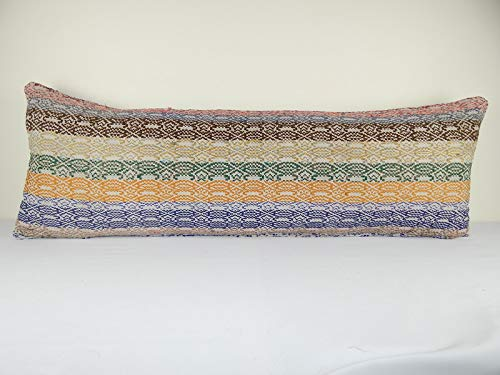 Image of King Size Kilim Pillow 16 x 49 inch (40 x 125 Cm) Extra Long Hippie Bedding Kilim Pillow Cover, Wool Farmhouse Decor Home and Kitchen