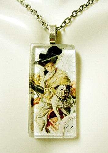 (Women driving with their bulldog glass pendant - DGP02-410 - Harrison Fisher)