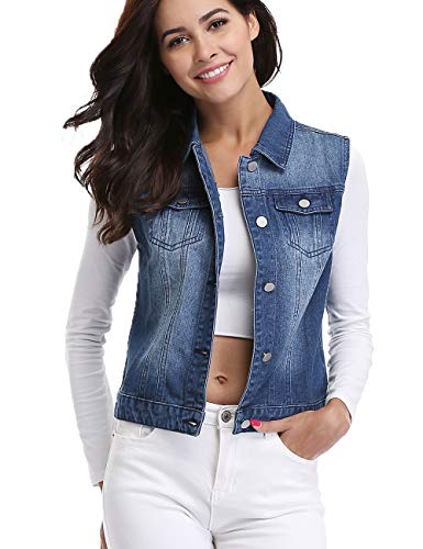 Womens Denim Vest Distressed Classic Button Sleeveless Jean Jacket Blue XS ()