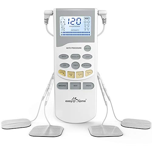 Easy@Home Professional Grade TENS Unit Electronic Pulse Massager with Rechargeable Battery EHE012PRO - Backlit LCD Display, Professional Grade Powerful Pulse Intensity-OTC Home Use