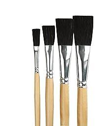 Dynasty 445091 Easel Brush, Long Polished Wood Handle, Black Bristles, 1\