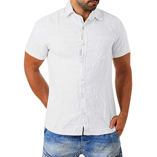 FONMA Men's Baggy Cotton Blend Pocket Solid Short Sleeve Turn-Down Collar T Shirts White
