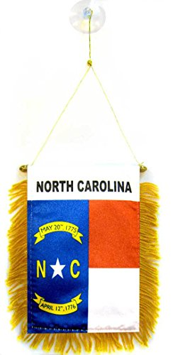AZ FLAG North Carolina Mini Banner 6'' x 4'' - US State of Caroline du Nord Pennant 15 x 10 cm - Mini Banners 4x6 inch Suction Cup Hanger