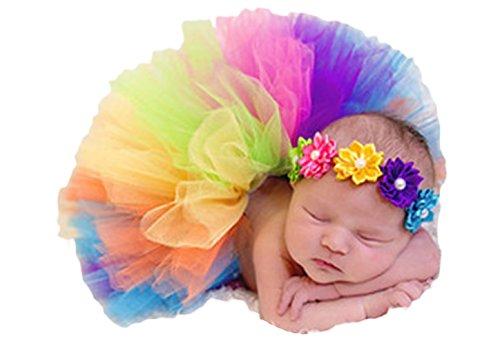 Little Kiddo Newborn Baby Girls Princess Photography Prop Rainbow Tutu Skirt with Flower Headband Photo Props Outfits