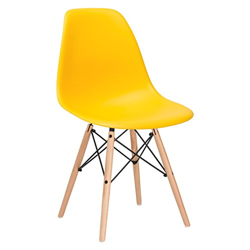 Poly and Bark Eames Style Molded Plastic Dowel-Leg Side Chair with Natural Legs, Yellow