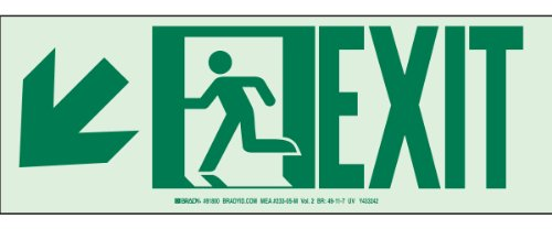 Brady 81800 BradyGlo High Intensity Aluminum Glow-In-The Dark Safety Guidance Aluminum Sign - Nyc Approved, 5