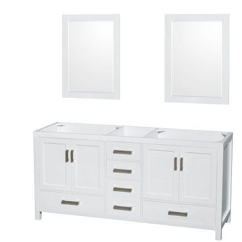 Wyndham Collection Sheffield 72 inch Double Bathroom Vanity in White, No Countertop, No Sinks, and 24 inch Mirrors